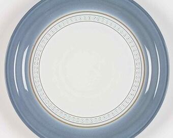 Vintage (1980s) Denby Castile salad   side plate.  Blue with embossed tan geometric band.