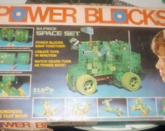 Vintage (1970s) ELDON Power Blocks space vehicle construction set. Incomplete (see below).