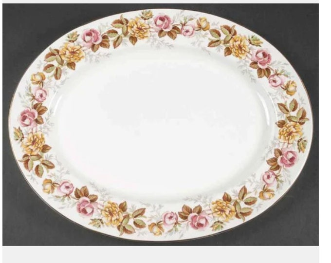 Vintage (1930s) Coalport Rosalinda oval platter made in England. Pink and yellow roses, gold edge. Choice of size.