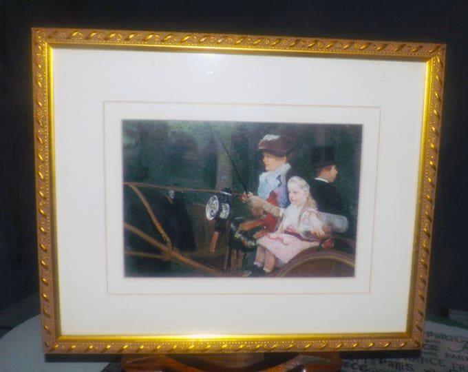 Vintage (1980s) framed print under glass. Carved, gilt wood frame, glare-resistant glass.  Woman and young girl in horse-drawn carriage.