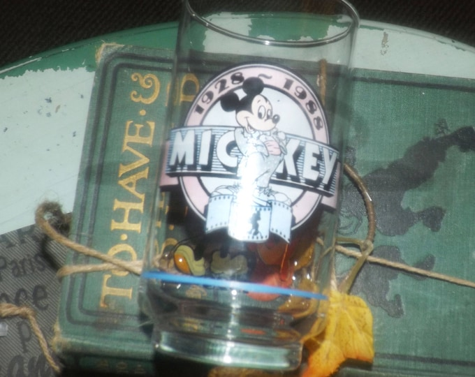 Vintage (1988) Mickey Mouse Steamboat Willie small tumbler glass.  Etched-glass artwork, type.  Celebrating Mickey Mouse 1928 and 1988.