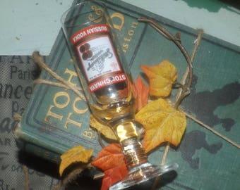 Vintage (1980s) Stolichnaya Russian Vodka stemmed shooter | shot glass.  Etched-glass artwork and text. Professional bartending marks.