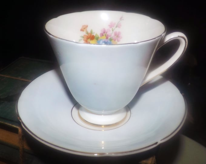 Quite vintage (1930s) Sampson Smith | Old Royal 4209 hand-decorated tea set (footed cup and saucer). Lavender, florals.