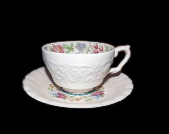 Antique (1910s) Booth's Corinthian 6756 hand-decorated cup and saucer set made in England.