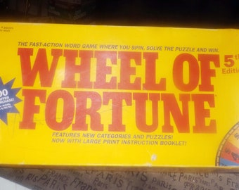 Vintage (1991) Pressman Wheel Of Fortune 5th Edition Board Game.  Incomplete (see below).