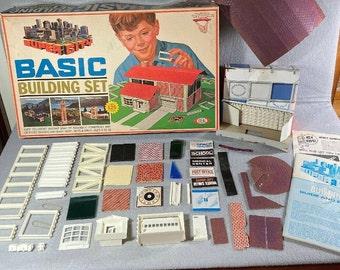 Vintage (1968) Ideal Toys Super City Basic Building Set Architecture Motorific Set. Made in USA. Complete.