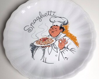 Vintage (early 1990s) Walbrzych Poland Spaghetti Chef round pasta serving platter. Central Spaghetti Chef image.