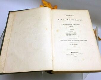 Antiquarian book (1835) Irving's Life of Columbus Vol II. Washington Irving. Printed in Philadelphia by Carey, Lea & Blanchard. Complete.