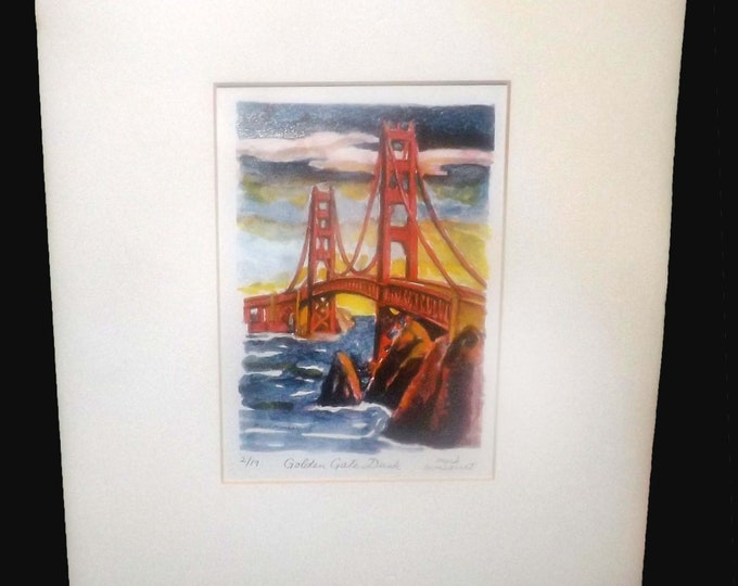 Vintage (1995) glicee print by California artist Mark Monsarrat. Watercolor Golden Gate Dusk. Very limited run at 2/19. Signed bottom right