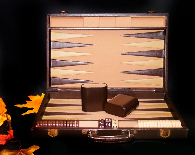 Vintage (1970s) Pierre Cardin luxury faux leather and fabric briefcase backgammon set. Great man gift. Complete.