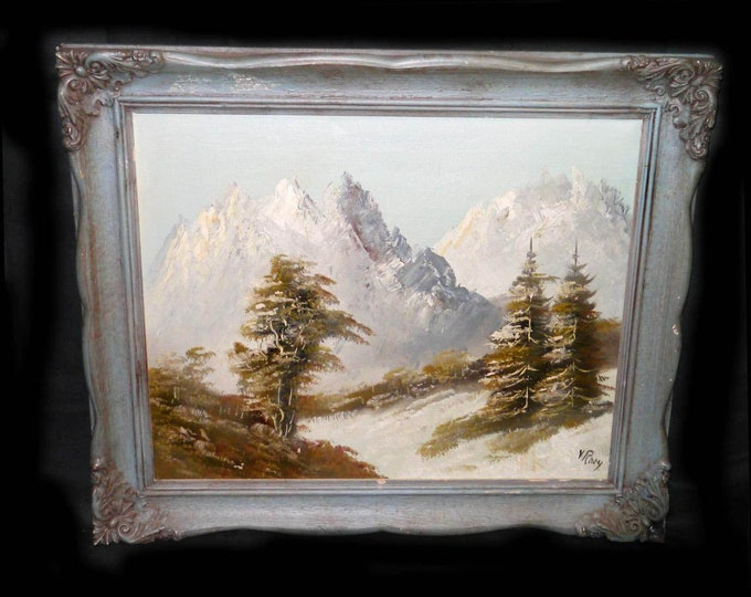 Mid-century original signed oil on canvas by V. Rooy. Landscape of mountains and trees. Grey wood frame with sculpted accents.