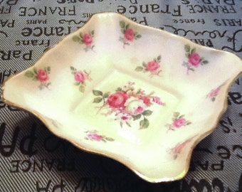 Early mid-century (1940s) Royal Standard  | Chapman's square sweetmeats | cranberry  dish. Carnations and daisies.