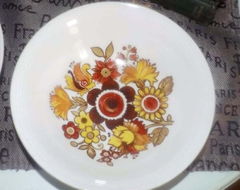 Vintage (1970s) Myott Festival cereal bowl. 70's earth-tone florals.