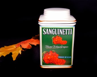 Vintage (1990s) Oneida Sanguinetti Flame Torquay Grapes Vintage Label Collection kitchen canister.