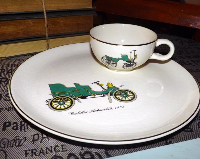 Mid-century Salem China USA antique automobile mismatched dinner plate and cup.