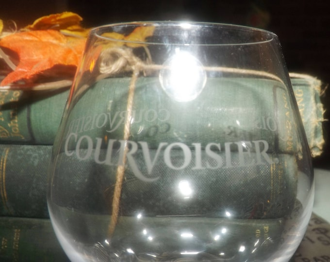 Vintage Courvoisier brandy | cognac snifter.  Etched-glass art. Made in France.