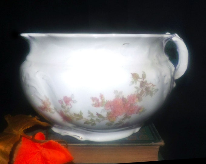 Antique (1900) Johnson Brothers art nouveau chamber pot | commode | toilet bed. Pink florals, greenery, embossed accents made in England.