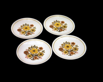 Set of four vintage (1960s) Ridgway Harvest Gold retro bread, dessert, side plates made in England. Hard to find.