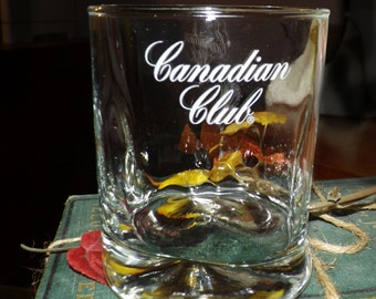 Vintage (1980s) Canadian Club lo-ball | whisky | on the rocks glass. Etched logo. Weighted bas. Commercial quality.