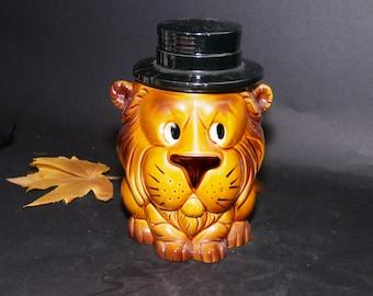 Vintage (1960s) Lion Cookie Jar made in Japan. Great vintage kitchen storage and decor. Lion King lovers.