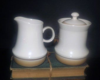 Vintage (1970s) Hearthside Japan Water Colors Horizon hand-decorated creamer or covered sugar bowl.  Stoneware.