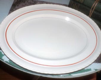 Quite vintage (1930s) Myott Son & Co hand-painted, art-deco inspired oval turkey | meat platter 2316B. Grey, red stripes, rope edge.