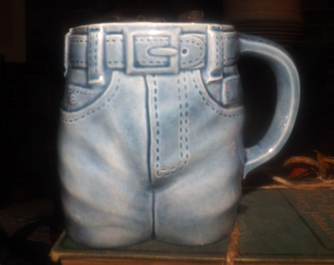 Vintage (1977) Byron Molds hand-crafted, figural blue-jeans | dungarees ceramic coffee or tea mug. Too cute.