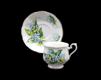 Vintage (1980s) Royal Albert ROA260 Forget Me Nots, Lily of the Valley cup and saucer set. Bone china made in England.
