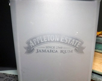 Appleton Estate Jamaica Rum Frosted and Etched-glass tumbler.  Weighted base.