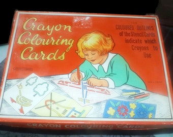 Early mid-century (1940s) Spear's Games Crayon Colouring Cards kit.  Made in England by Spear's Games.