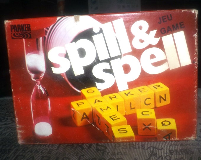 Vintage (1975) Spill and Spell crossword board game by Parker Brothers. Incomplete (see details below).
