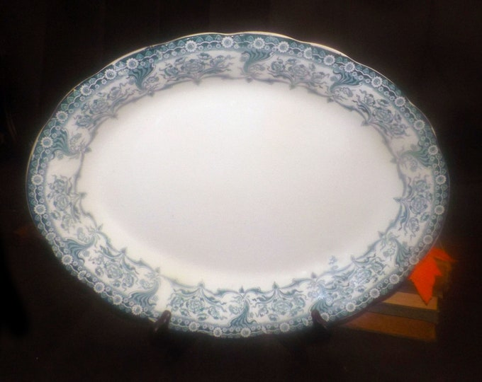 Antique (1903) Colonial Pottery | Winkle & Wood Malvern large oval turkey or meat platter. Art nouveau florals. Made in England.