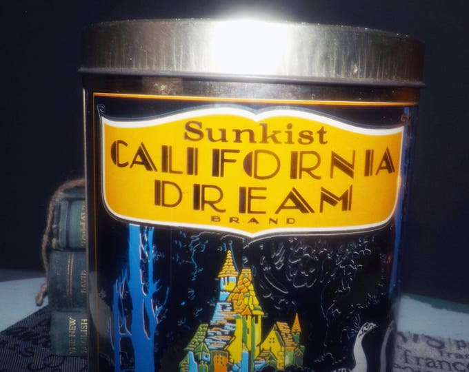 Vintage (1970s) Art Deco Cheinco golden peacocks tin advertising Sunkist California Dream orange crates by Bradford Bros Orange County.