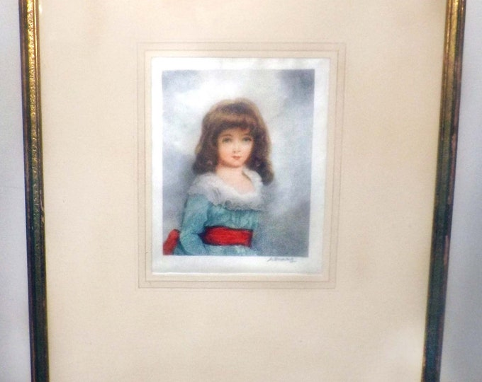 Featured listing image: Antique (1800s) signed stipple engraving Louis Dupont portrait of Miss Hartington after Sir Thomas Lawrence. Gilt framed, matted under glass