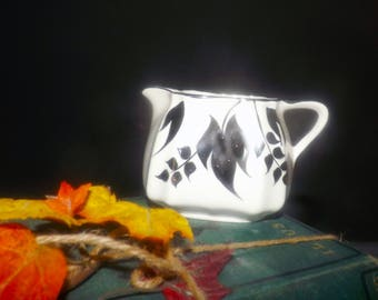 Mid-century (1940s) Lancaster Sandland hand-decorated 696 pattern silver luster small creamer.  Silver luster leaves, edge.
