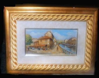Original oil on board of Vecchia Milano | Old Milan by Italian artist Bozzelli. Carved wood gilt frame. Signed with COA on back.