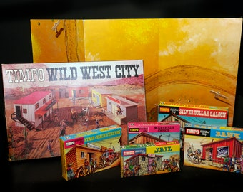 Vintage (1960s) Timpo Wild West City playset with cowboy figures, scenery, accessory items. Made in Scotland by Model Toys Ltd.