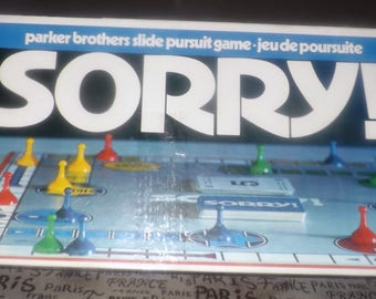 Vintage (1972) Sorry board game published by Parker Brothers.  Canadian English | French bilingual edition. Complete.