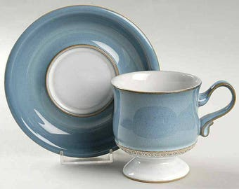 Vintage (1980s) Denby Castile pattern tea set (footed cup with matching saucer). Blue with embossed tan band.