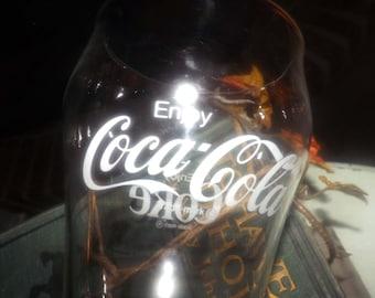 Vintage (1980s) retro collectible Enjoy Coke | Coca-Cola Coke tumbler or pint glass. Etched-glass artwork.