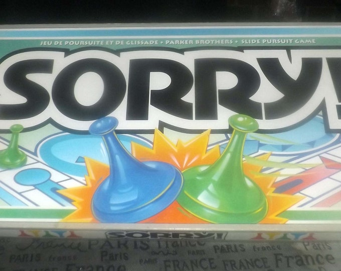 Vintage (1993) Sorry board game published by Parker Brothers.  Canadian English | French bilingual edition. Complete.