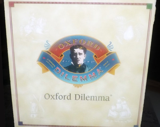 Vintage (1988) Oxford Dilemma Spelling Trivia Board Game published by small gamehouse Rumba Games. Complete.