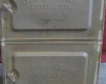 Antique (1901) Ohio Steam Cooker oven made in Toledo. Great antique kitchen decor.