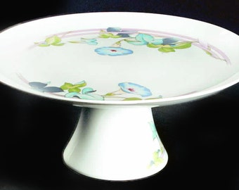 centerpiece,cupcake stand,blue,floral serving Vintage Tuscany Collection Pedestal Cake Plate Stand Japan entertaining white Westbury