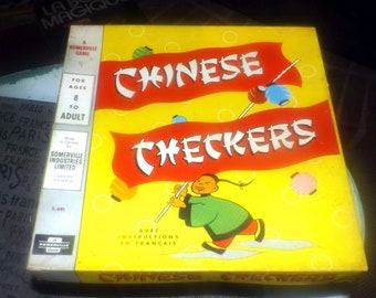 Late mid-century (late 1950s) Chinese Checkers board game made and published in Canada by Somerville Games as S-491.