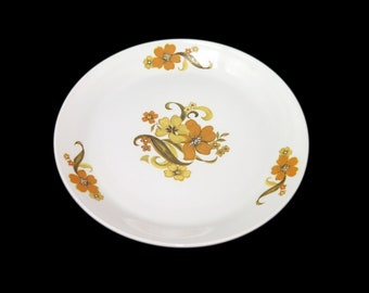 Retro vintage (1970s) Johnson Brothers Romance flower-power salad or side plate made in England. Sold individually.
