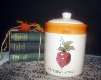 Vintage (1990) TAG vegetable series Betterave Rouge | Red Beets canister with vacuum-sealed lid.