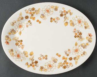 Vintage (1970s) Royal Doulton Sundance TC1087 oval vegetable platter. Perky bursts of orange, brown and yellow flowers.