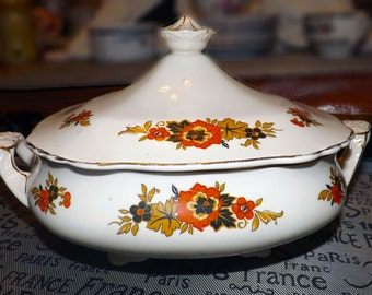 Antique (1800s) Wedgwood & Co Richelieu covered, double-handled vegetable bowl/tureen. Cobalt/gold/rust, embossed detail.Gold edge/accents