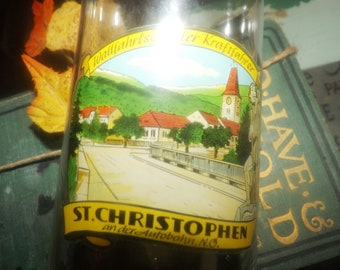 Vintage (1960s) St. Christophen | St. Christopher's Austria celebration souvenir beer glass.